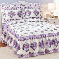 Lilac Beauty Quilt Top Bedspread With Ruffle Skirt Colcha De