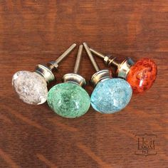 Glass Bubble Decorative Knob  Furniture Pull  Aqua by Heirloom142