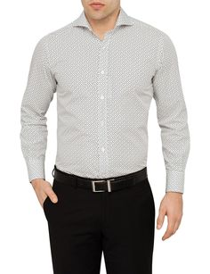 Cotton Square Print Shirt   David Jones