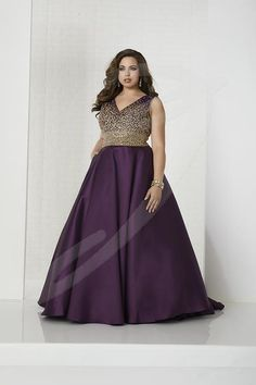 Style 16322 from Tiffany Designs is a sleeveless V neck plus size prom gown with a scatter beaded bodice, open lace-up back, and an A-line Mikado skirt. Gold Prom Dresses, Wedding Dresses For Girls, Gala Dresses, Event Dresses, Formal Evening Dresses, Evening Gowns, Bridal Dresses, Bridal Gown, Plus Size Evening Gown