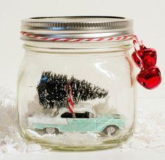 Car in a snow globe jar Christmas gift
