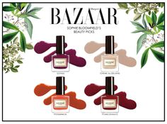 These timeless yet trendy shades were loved by the Beauty Director at Harper's Bazaar! They are so gorgeous which can be paired with your everyday outfits! #birchbox #bazaaruk #cerise #cremeaubeurre #persimmon #pomegranate #soigne #soignenailpolish #nailpolishes #soignenailsuk