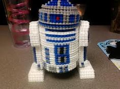 3D perler beads star wars R2D2 design - Perler Bead designs - Fuse bead designs - Perler Bead - Perler bead art - #perlerbead