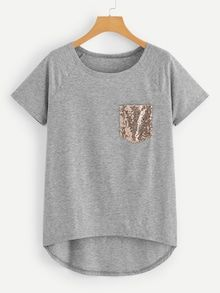 Casual Asymmetrical and Contrast Sequin Plain Asymmetrical Regular Fit Round Neck Short Sleeve Raglan Sleeve Pullovers Grey Crop Length Sequin Pocket Dip Hem Tee Fashion News, Fashion Outfits, Plus Size T Shirts, Mode Hijab, Cotton Style, Types Of Sleeves, Plus Size Fashion, Sequins, Clothes For Women