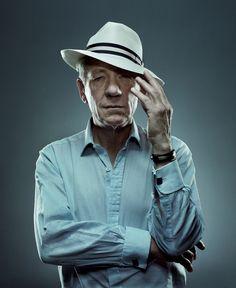 That is one great hat....Sir Ian McKellen by Patrick Hoelck.