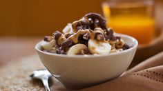 Start with a simple bowl of cereal and shake things up. Layer Cheerios with vanilla yogurt, fresh banana, peanut butter and chocolate covered pretzels. This morning bowl is rich and indulgent.
