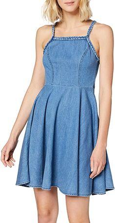 """Das Jeanskleid """"leda"""" Im 50th-style mit romantischen zopf-trägern.. Ärmellos 100% Baumwolle A-Linien-Kleid Pflegehinweis: Maschinenwäsche kalt (30° max) Modellnummer: 60840  Bekleidung, Damen, Kleider, Freizeit Casual Dresses, Short Dresses, Summer Dresses, Ltb Jeans, Full Skirts, Types Of Dresses, Fitted Bodice, Mannequin, Skater Dress"""