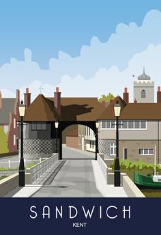 Sandwich, Kent. Toll Bridge & House. Railway Poster style Illustration by www.whiteonesugar.co.uk Drawn by Nigel Wallace of White One Sugar