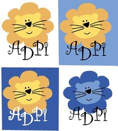 Alpha Delta Pi Lions, shows the variations using the Stencils in DIYGreek.com Supply Sack along with all the different paints.  #adpi, #alpha delta pi, #lion, #little sister, #sorority, #greek, #stencils