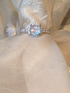 Solitaire PROMISE Ring Rainbow Moonstone by NorthCoastCottage