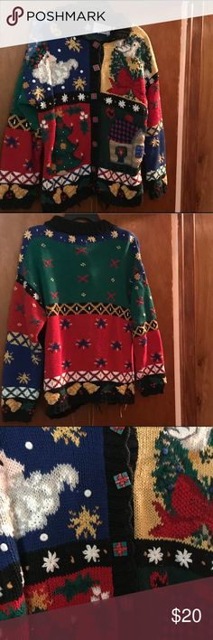 Heavy Decorative Holiday Sweater Knitted Holiday Sweater, warm and heavy, good condition. Size large Northern Isles Sweaters