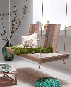 Indoor Wooden Swing.  Love and would totally put in my dream room at my dad's.