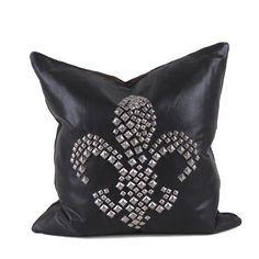 Studded Fleur De Lis Pillow