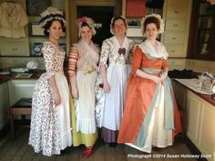 The mantua-makers of the Margaret Hunter millinery shop dressed in holiday finery. Christmas, 2014. http://twonerdyhistorygirls.blogspot.com/2014/12/day-i-christmas-in-colonial.html