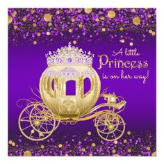 Purple and Gold Princess Carriage Baby Shower Card Custom Baby Shower Invitations, Baby Shower Invitation Cards, Baby Shower Cards, Baby Shower Parties, Baby Shower Themes, Baby Shower Decorations, Shower Ideas, Shower Party, Babyshower Invites