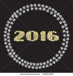 Rhinestone diamond wreath happy new year 2016 white and gold stones. Vector illustration.