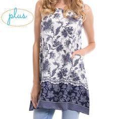 Paisley Print Sleeveless Tunic Flattering cut tunic top, great for pairing with leggings, skinny jeans, or wearing as a dress. Features front pockets! 31.5' long, 100% Rayon, Made in USA. True to size. mockingbird + poppy Tops Tunics