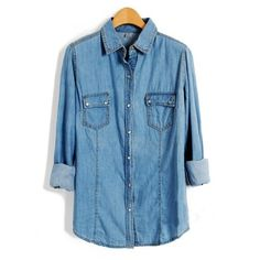 Flap Pockets Shirts In Denim ($39) ❤ liked on Polyvore