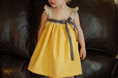 RESERVED Baby Girl Dress  in Yellow Cotton/Gray Linen  12 mo 2T 3T. $30.00, via Etsy.
