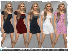 2 Summer Wave Dresses  Found in TSR Category 'Sims 4 Sets'