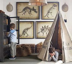 Dinosaur Room: Love the art, but young son doesnt like skeletons. :) Excellent teepee and LOVE the lockers!!