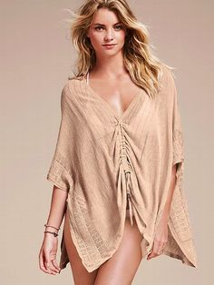 Victoria's Secret Colorblock Linen Poncho Sweater <3 The flowy silhouette of this lightweight colorblock poncho gives it a dramatic air. An adjustable drawstring front lets you choose its shape. Wear it as a chic cover-up or as an easy layer after sunset <3 #VictoriasSecret