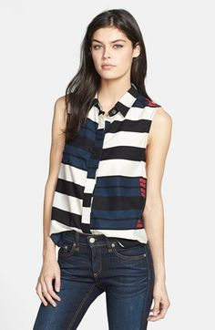Rag and Bone 'Tent' Mixed Stripe Collared Tank on shopstyle.com