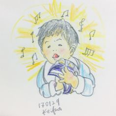 【Around midnight】初めての散髪と初めてのカラオケを体験したムスッコ。 楽しんだのは私ととしぷん。 Osuke got his first haircut, and went to karaoke for the first time. Though, it was rather me and my husband who enjoyed them. #baby #drawing #illustration #8months #karaoke #haircut #tambourine #赤ちゃん #イラスト #おえかき #8ヶ月 #タンバリン #カラオケ #散髪 #music #音楽