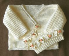 Baby Girl Sweater Set 12 months Tunisian Afghan Stitch – PDF Pattern - Hard Tutorial and Ideas Crochet Baby Sweater Pattern, Crochet Baby Sweaters, Baby Sweater Patterns, Baby Girl Crochet, Crochet Baby Clothes, Crochet For Kids, Baby Patterns, Baby Knitting, Knit Crochet