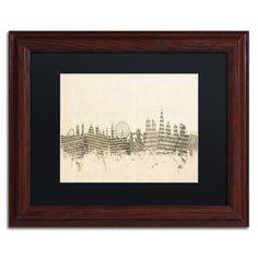 London Skyline Sheet Music by Michael Tompsett Framed Graphic Art in Ivory