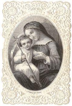 Santísima Madre Virgen María y bebé Jesús antiguo francés