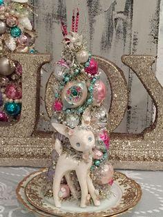 Vintage Signed Lefton Reindeer Figurine, Pastel Christmas, Bottle Brush Tree