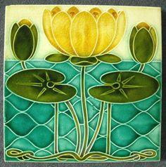 Antique Pilkington's Art Nouveau Mojolica Tile circ 1900 - England
