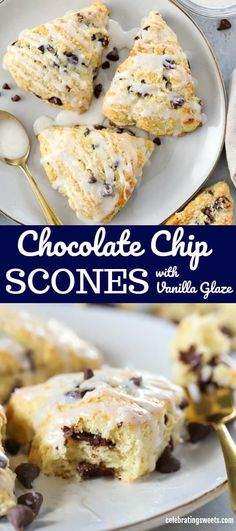 Could You Eat Pizza With Sort Two Diabetic Issues? The Perfect Chocolate Chip Scones - Tender And Buttery, Studded With Chocolate Chips And Topped With A Vanilla Glaze. Scones Chocolate Chips, Chocolate Chip Recipes, Desserts With Chocolate Chips, Brunch Recipes, Breakfast Recipes, Dessert Recipes, Breakfast Scones, Breakfast Cookies, Nutella