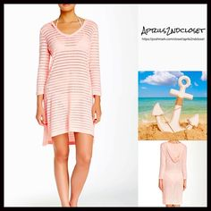 """❗️1-HOUR SALE❗️Tunic Hoodie Swim Coverup Mini NEW WITH TAGS  RETAIL PRICE: $68  Tunic Hoodie Swim Coverup Mini Dress   * Pullover A-line style w/deep v-neck & attached hood  * Allover perforated eyelet striped construction    * 3/4 length sleeves, about 19"""" long   * Measures about 34""""-37"""" long, hi-Lo hem   * It will approx fit sizes 2-6.   Fabric: 95% Rayon & 5% Spandex; Machine Wash Color: Rose Quartz fuschia Striped Item:  # pastel No Trades ✅ Offers Considered*/Bundle Discounts✅  *Please…"""