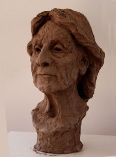 Fired #clay #sculpture by #sculptor Helle Rask Crawford titled: 'Portrait of Nal Boglino (BustHead statues)'. #HelleRaskCrawford