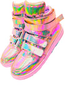 Shiny opalescent back to the future rainbow velcro high-tops. What more could you ask for?