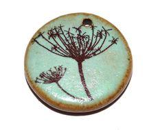 Ceramic Dandelion Pendant Stoneware Handmade Aqua Earthy by Grubbi