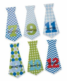 Set of 12 removable necktie stickers come in various colors and patterns to mark and capture baby's first twelve months in photos. Attaches easily to any crawler or bib.  Part of Mud Pie's Birthday Boy collection.