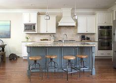 Family-Friendly Kitchen Reveal - The Decorologist BM Manchester tan Kitchen Board, Kitchen Redo, Kitchen Tiles, Kitchen Styling, Kitchen Dining, Tan Kitchen Cabinets, Blue Cabinets, Painting Kitchen Cabinets, Manchester Tan