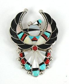 Authentic Native American Zuni Indian Sterling Silver and stone inlay Thunderbird pin pendant by Verdel and Esther Niiha
