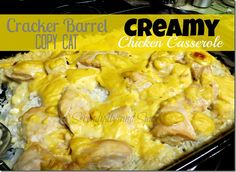 Cracker Barrel Copy Cat Creamy Chicken and Rice Casserole Recipe  DELISH! EASY! One dish meal!  My family gobbles this up-- there's never any leftovers! #dinner