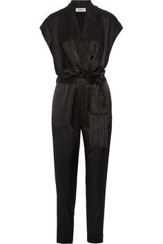 L'AGENCE Alessandra wrap-effect satin jumpsuit. #lagence #cloth #jumpsuit