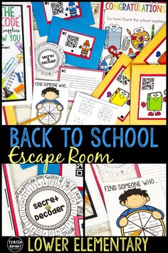 """This back to school escape room game is a perfect activity for the first day or week of school. Students will get to know their classmates, as well as discover where supplies are located in the classroom. Similar to a """"Find Someone Who"""" game, students will interact their their classmates while answering questions, deciphering codes, and solving puzzles. This escape room is great for lower elementary students."""