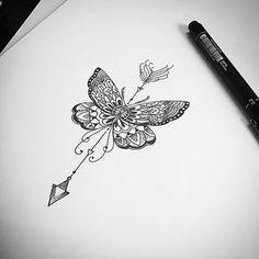 Orçamentos 27 999805879 ...... !!!! Valeeeeeu #butterfly #mandala #arabescos #flecha #tatuagemfeminina #inspirationtatto