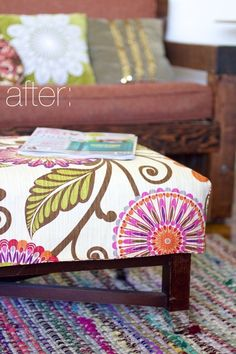 Ruffles and Stuff-Simple Reversible Ottoman Cover Tutorial!
