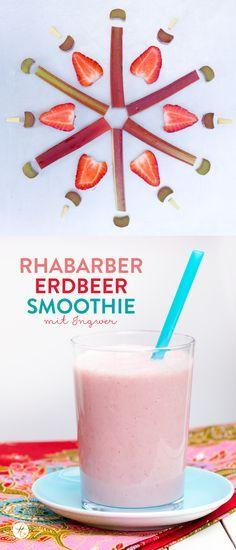 Rhabarber-Erdbeer Smoothie Rezept #smoothiemontag