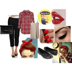 Rosie the Riveter 50's, created by jessica-conifer on Polyvore