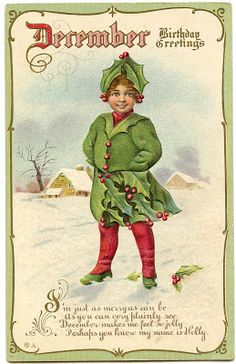 *The Graphics Fairy LLC*: Vintage Graphic - December Birthday - Holly Fairy