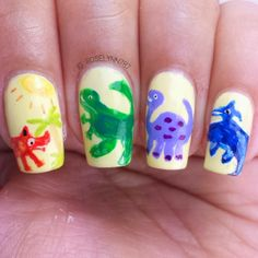 Child-book Dinosaurs created for #randomnailartmay Full details can be found on my blog for how I created this mani. Follow me at http://instagram.com/roselynn787 #nail #nails #cutenails #naildesign #nailart #polish #cute #dinosaurs